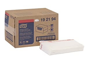 "Tork 192194 Odor Resistant Foodservice Cleaning Towel, 1/4 Fold, 13"" Width x 21"" Length, White/Red Stripe (Case of 1 Box, 50 Cloths per Box)"