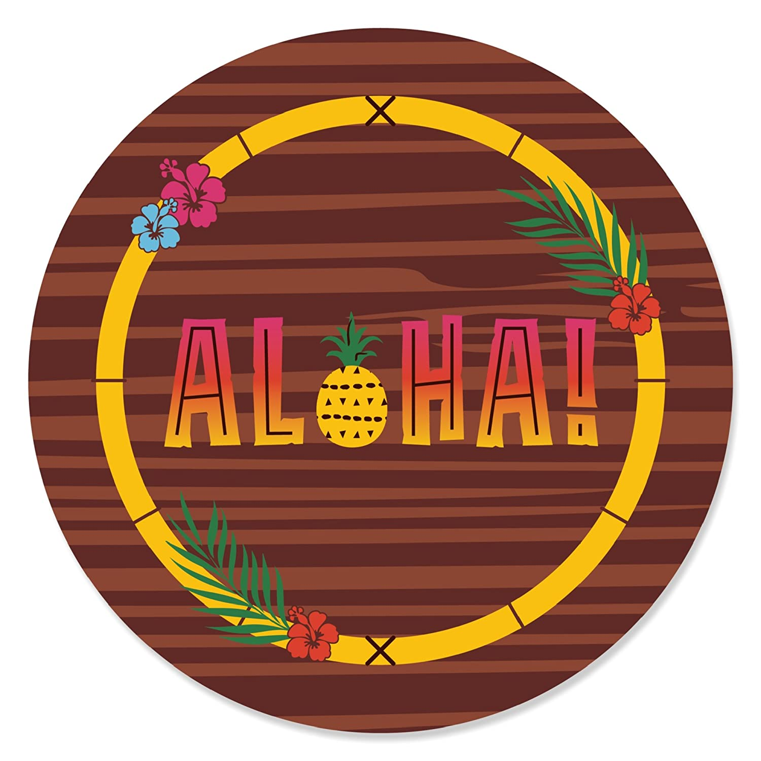 12 Count Tropical Hawaiian Summer Party Cupcake Toppers Tiki Luau Cupcake Picks with Stickers