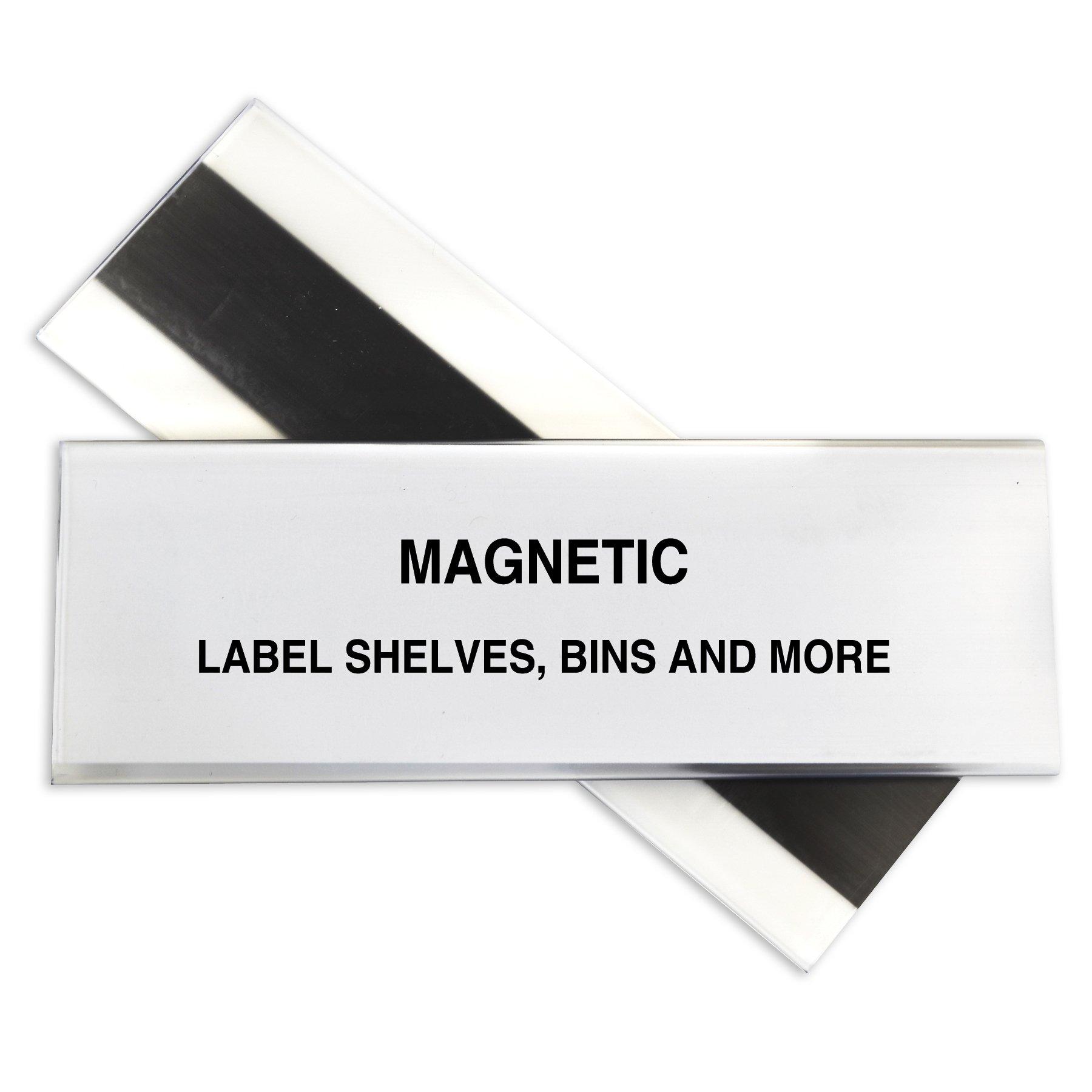 C-Line HOL-DEX Magnetic Shelf/Bin Label Holders, 2 x 6 Inches, 10 per Box (87247)