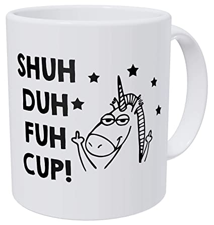8ad81ab5b54 Amazon.com: Wampumtuk Unicorn Gifts Shu Duh Fuh Cup. Stars. Funny Coffee  Mug 11 Ounces Inspirational And Motivational: Kitchen & Dining