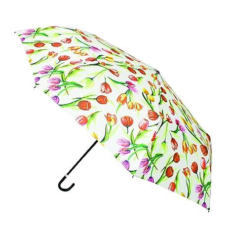 Signare Paraguas Mango Curvo en el diseño Tulipán blanco