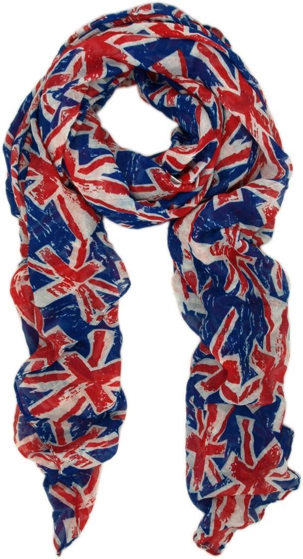 UK British Flag Union Jack Small Print Fashion Scarf Blue
