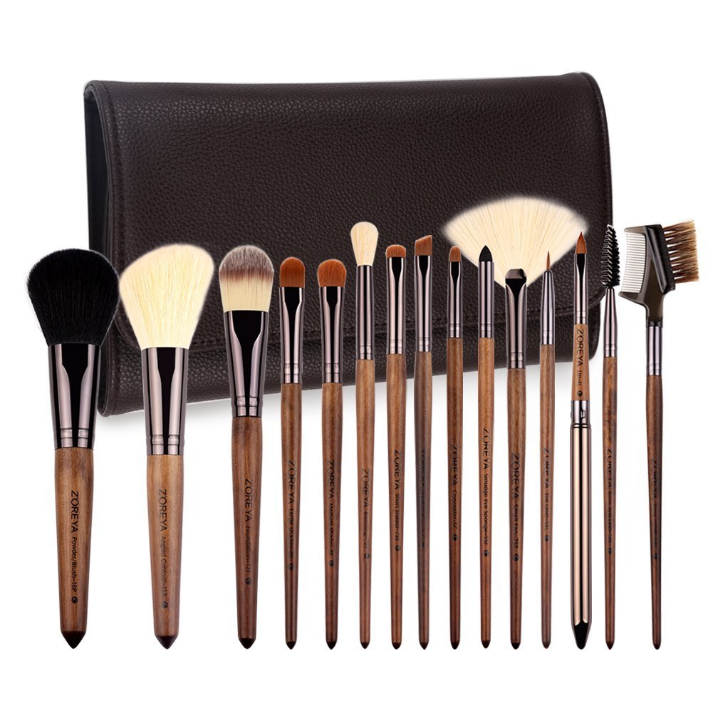 ZOREYA(TM) Makeup Brushes 15pc High End Real Walnut Handle Makeup Brush Set- with Free Dark Brown Leather Brush Case Bag Holder With Angled Contour Brush Lip EyeShadow Powder Fan Brushes