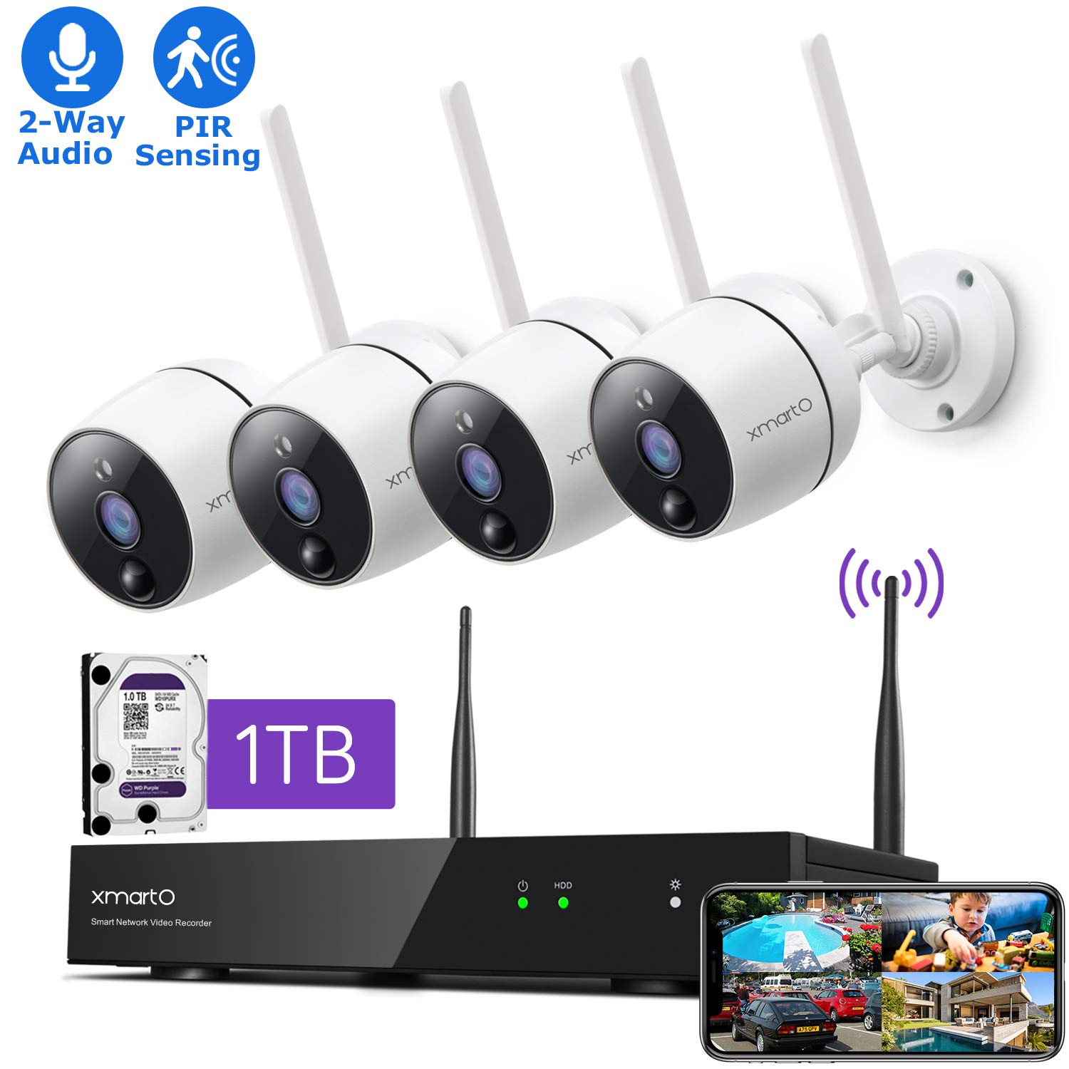 XMARTO Wireless Security Camera System - 8CH Expandable NVR with 4 1080p WiFi Security Cameras - PIR & Video Dual Motion Detection, Video Clip Alert, 2-Way Audio, IR Night Vision Weatherproof, 1TB HDD by xmartO