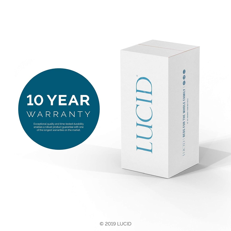 Lucid 10 Inch Plush Memory Foam Mattress Twin X-Large CertiPUR-US Certified Dual-Layered 25-Year Warranty
