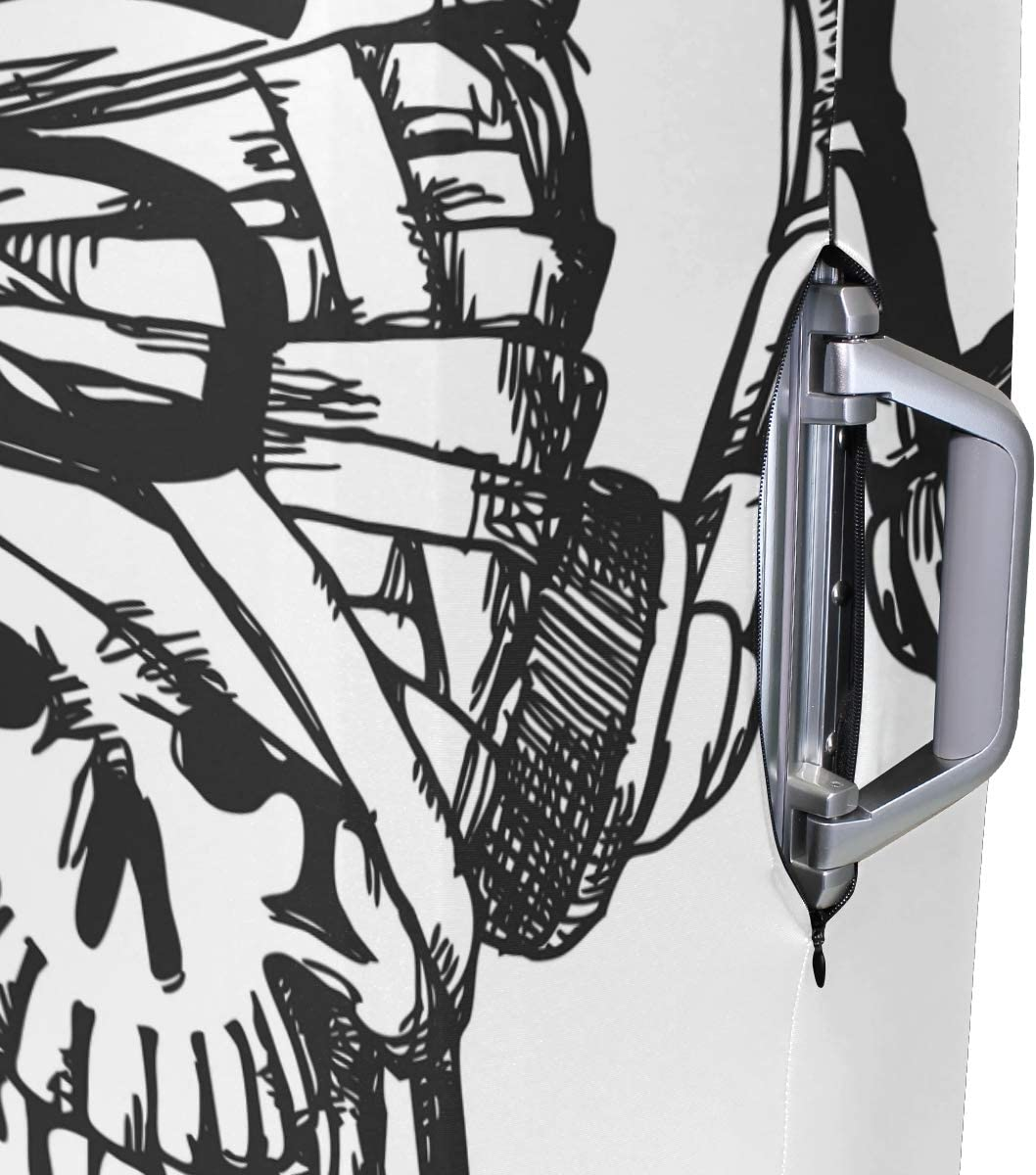 18//22//26//29 Inch Travel Suitcase Luggage Protective Cover with Headset Skull Zebra Couple