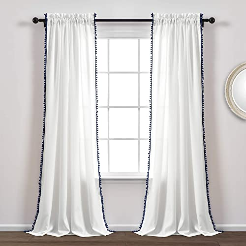 Lush Decor, Navy Pom Curtain Textured, Solid Color Shabby Chic Style Window Panel for Living, Dining Room, Bedroom Single , 95 x 50 White, 95 x 50