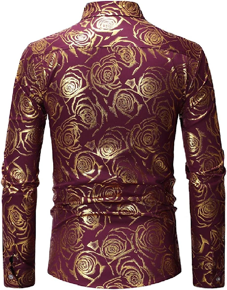 Abetteric Mens Spring//Autumn Lapel Long-Sleeve Fitted Floral Dress Shirt
