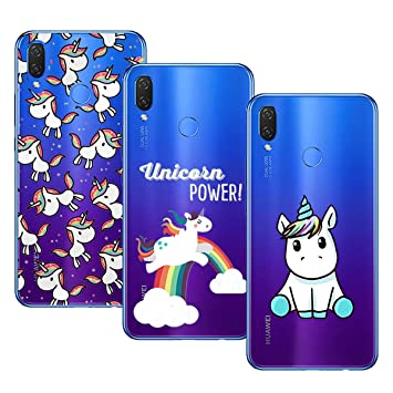 Young & Ming Huawei P Smart Plus Funda, [3 Pack] Huawei P Smart+ Funda Carcasa Transparente Slilicona Suave TPU Gel Enjaca, Color 2