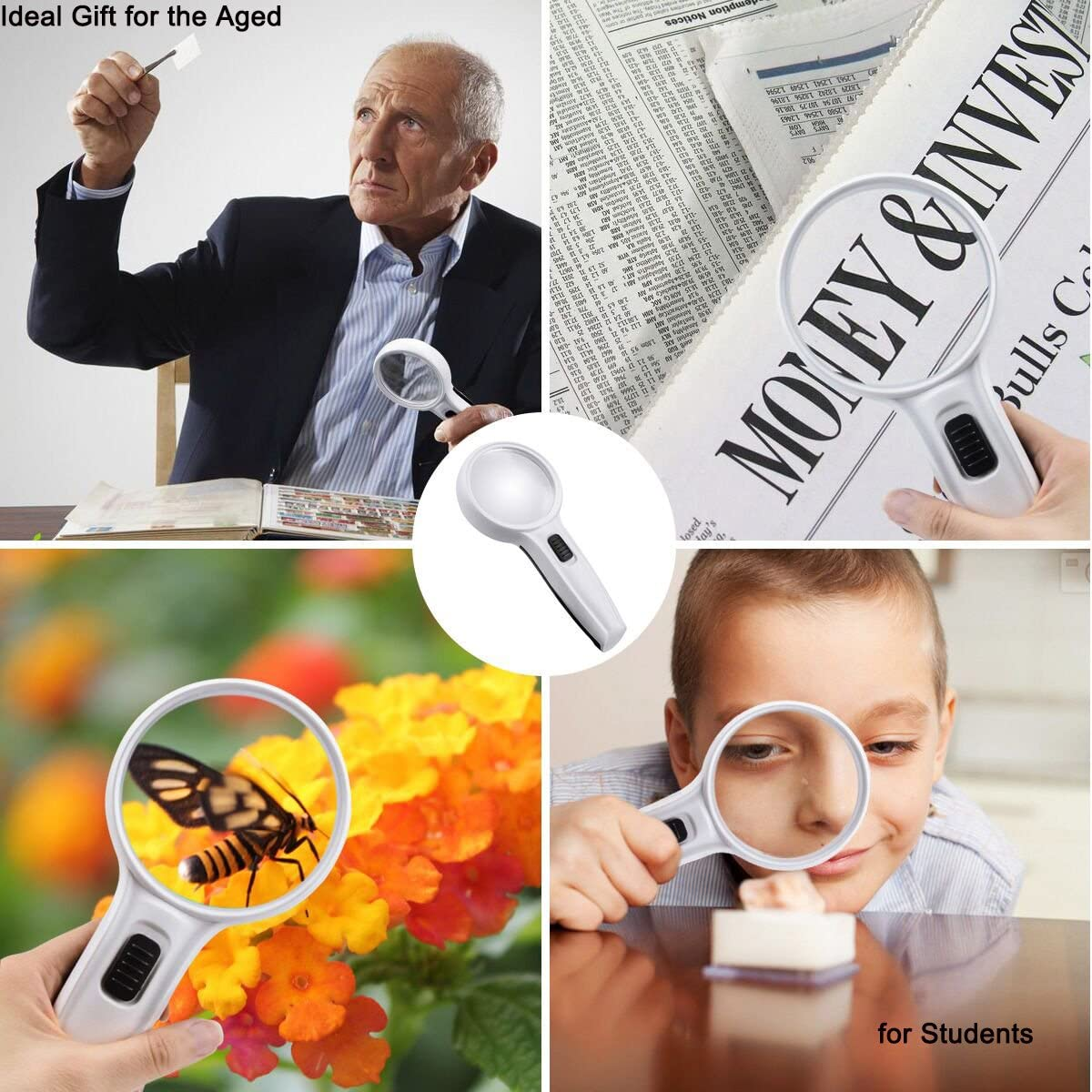Handheld Pocket 3 LED Reading Magnifier Portable Globalstore 10X Lighted Magnifying Glass 3Inch Double Lens Loupe
