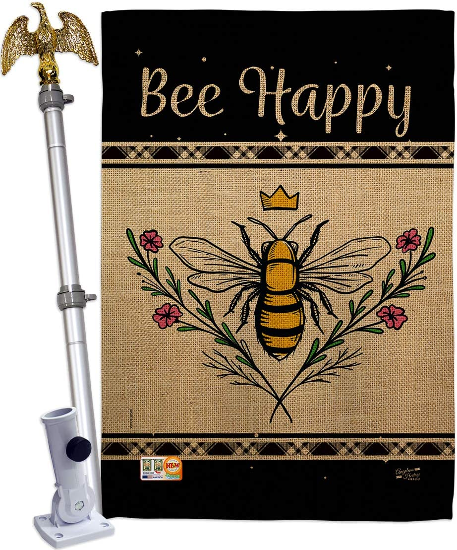 Bugs & Frogs Queen Bee Happy House Flag Eagle Set Garden Friends Butterfly Ladybugs Dragonfly Springtime Insect Natural Wildlife Small Decorative Gift Yard Banner Double-Sided Made In USA 28 X 40