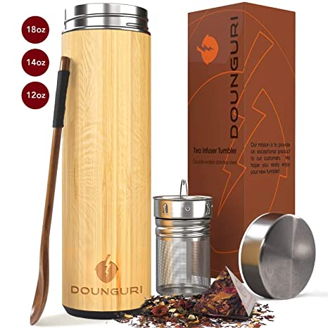 DOUNGURI Bamboo Tea Tumbler Mug with Strainer Infuser - 18 oz Vacuum  Insulated Stainless Steel Thermos with Filter for Loose Leaf/Coffee Travel