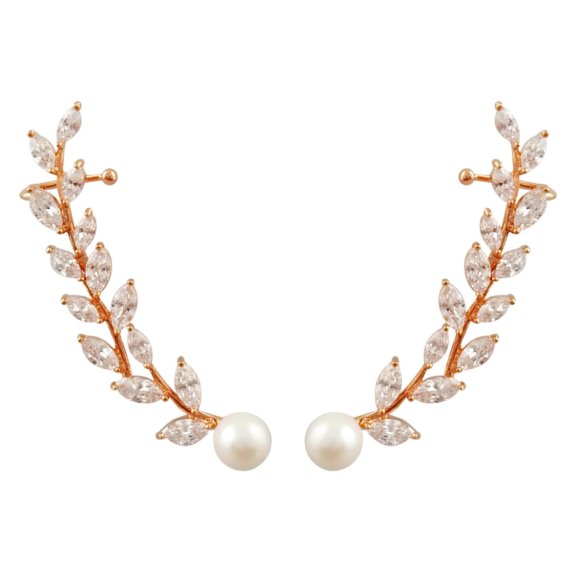SELOVO Women's Simulated Pearl Zircon Cuff Crawlers Ear Wrap Earrings Rose Gold Tone