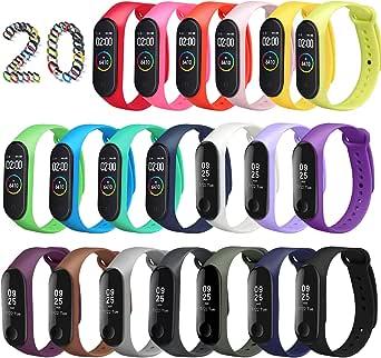 ivoler [20 pack] armband för Xiaomi Mi Band 3/4, Soft Silicone Waterproof Wearable Breathable Watchbands Accessories för Xiaomi Mi Band 3/4 Watch Strap