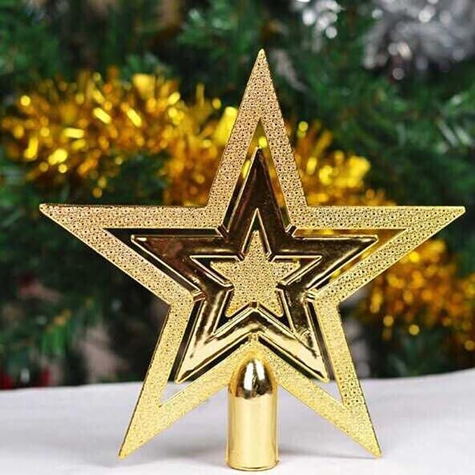 Glitzer Goldener Pentagramm Top Star 1 St/ück Cosanter Weihnachtsbaumspitze F/ünfzackiger Stern Christbaumschmuck 9,7 cm