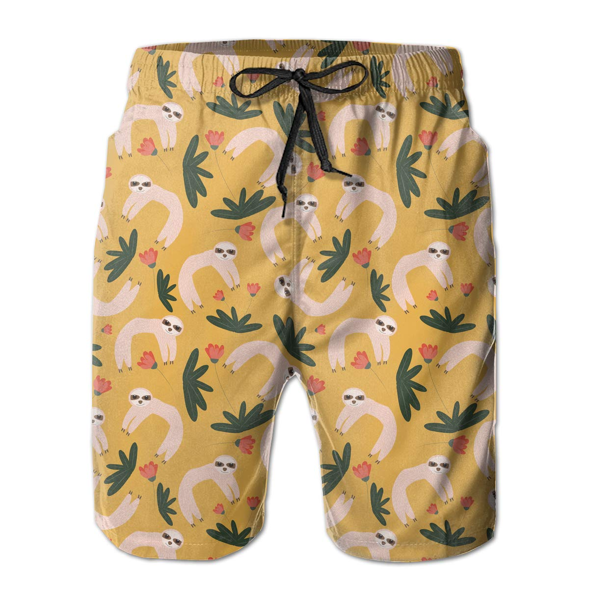Funny Sloth with Tropical Leaves Pattern Mens Boardshorts Dry Fit Beachwear