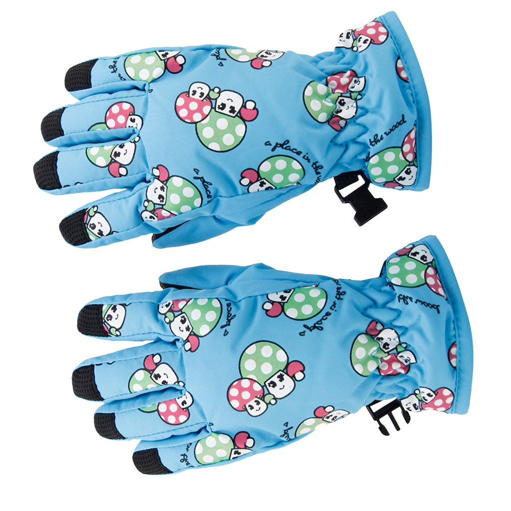 1Pair Children Kids Anti-slip Winter Breathable 2-4 Years Ski Skating Gloves Sky Blue Generic