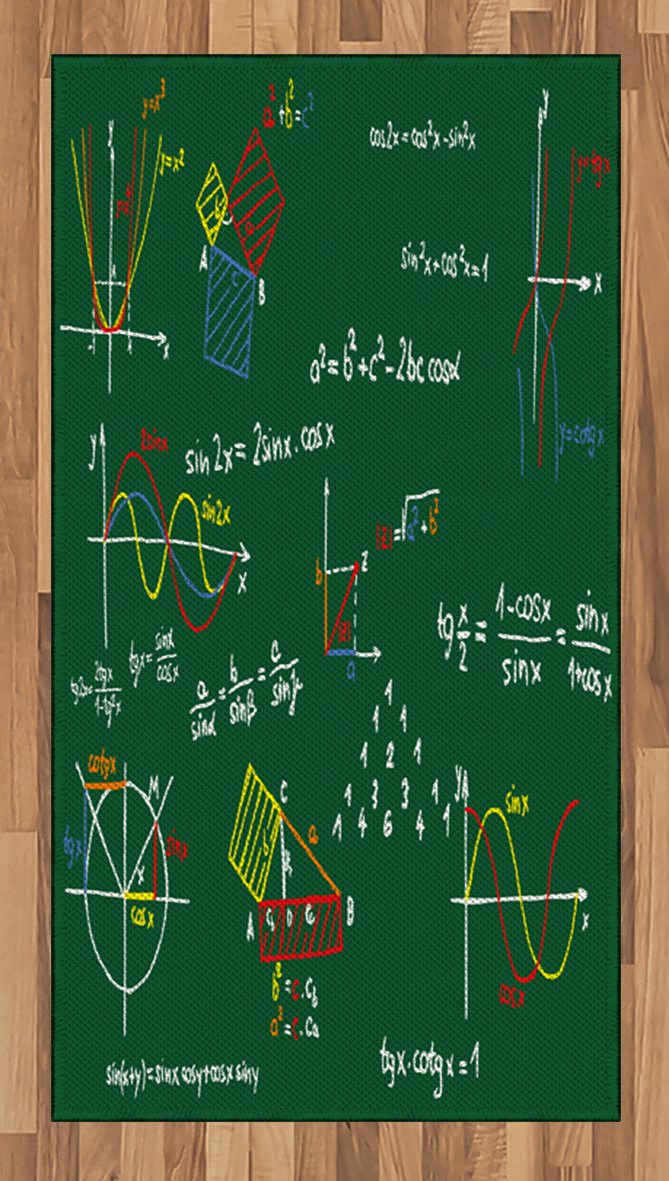 Mathematics Classroom Area Rug by Lunarable, Green Blackboard with Colored Formula and Sketches Geometry School, Flat Woven Accent Rug for Living Room Bedroom Dining Room, 2.6 x 5 FT, Multicolor