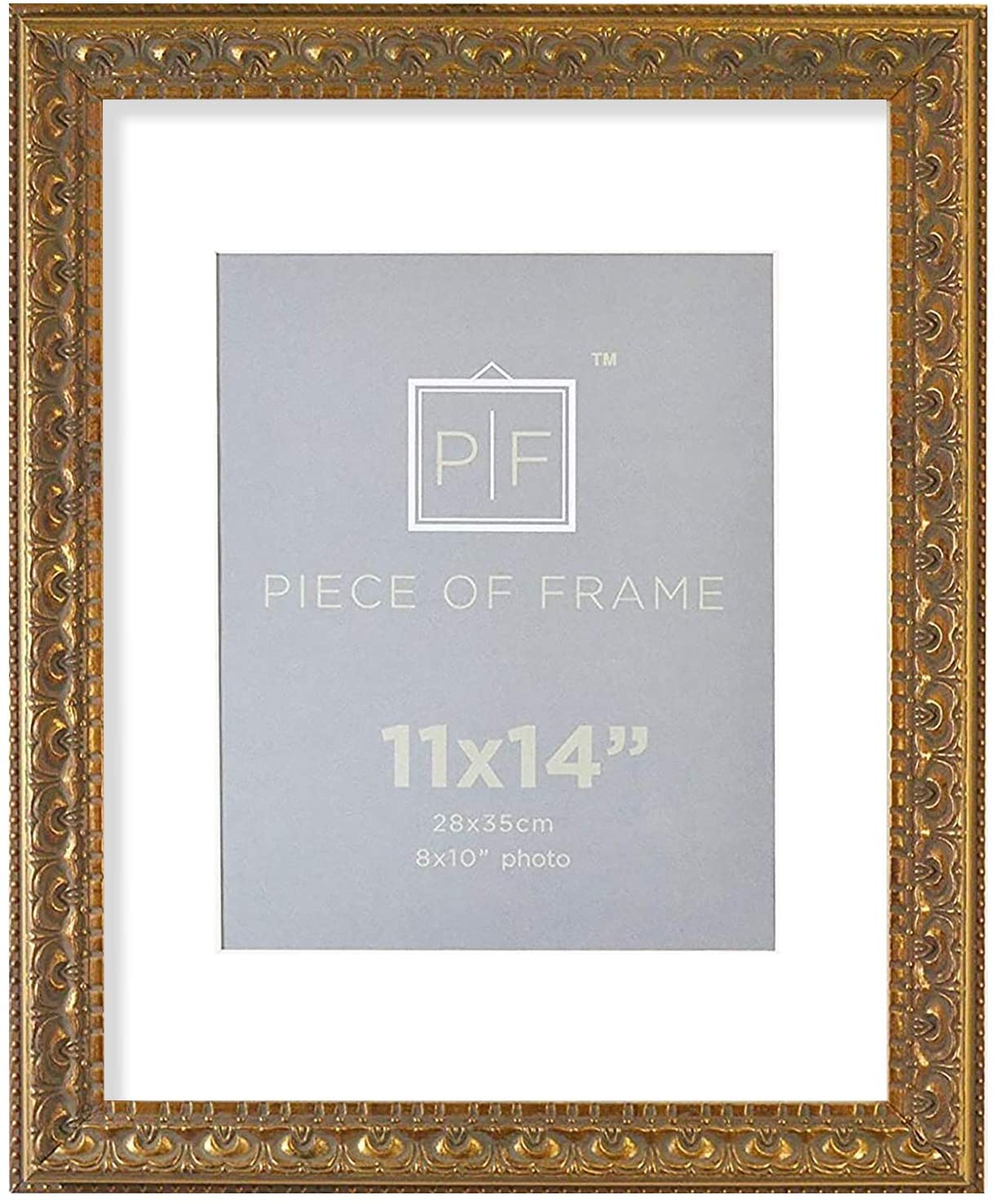 Golden State Art, 11x14 Ornate Finish Photo Frame, with White Mat for 8x10 Picture & Real Glass, Color: Bronze