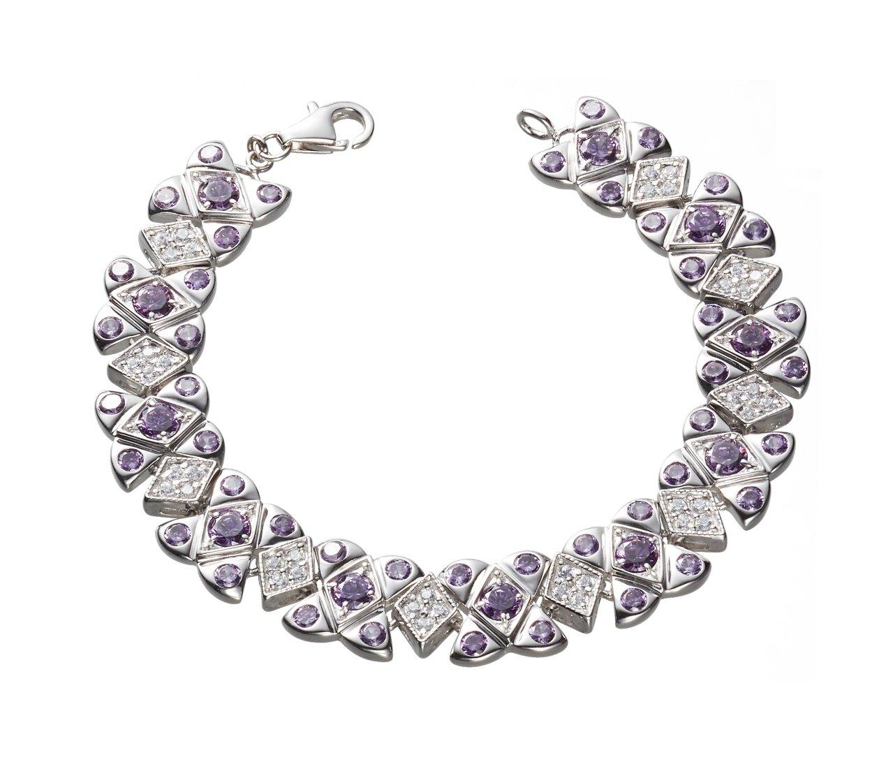 NEW ARRIVAL Queen Jocelyn Fashion Style Purple and White Cubic Zirconia Strand Bracelet by Queen Jocelyn