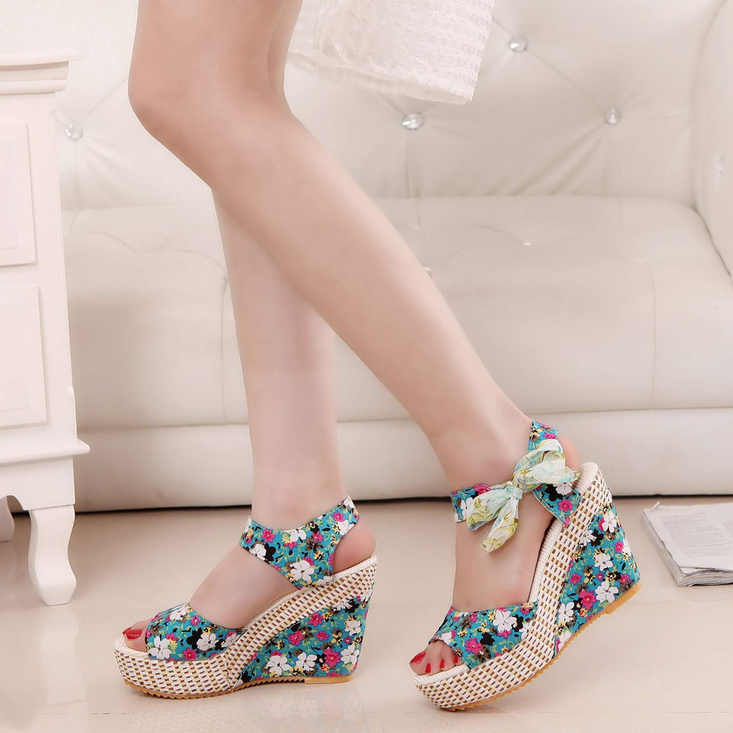 TanYQWGK Summer Shoes Woman Flower Peep Toe Wedges Lace Up Thick Bottom Flatform Shoes Sandals Zapatos Blue
