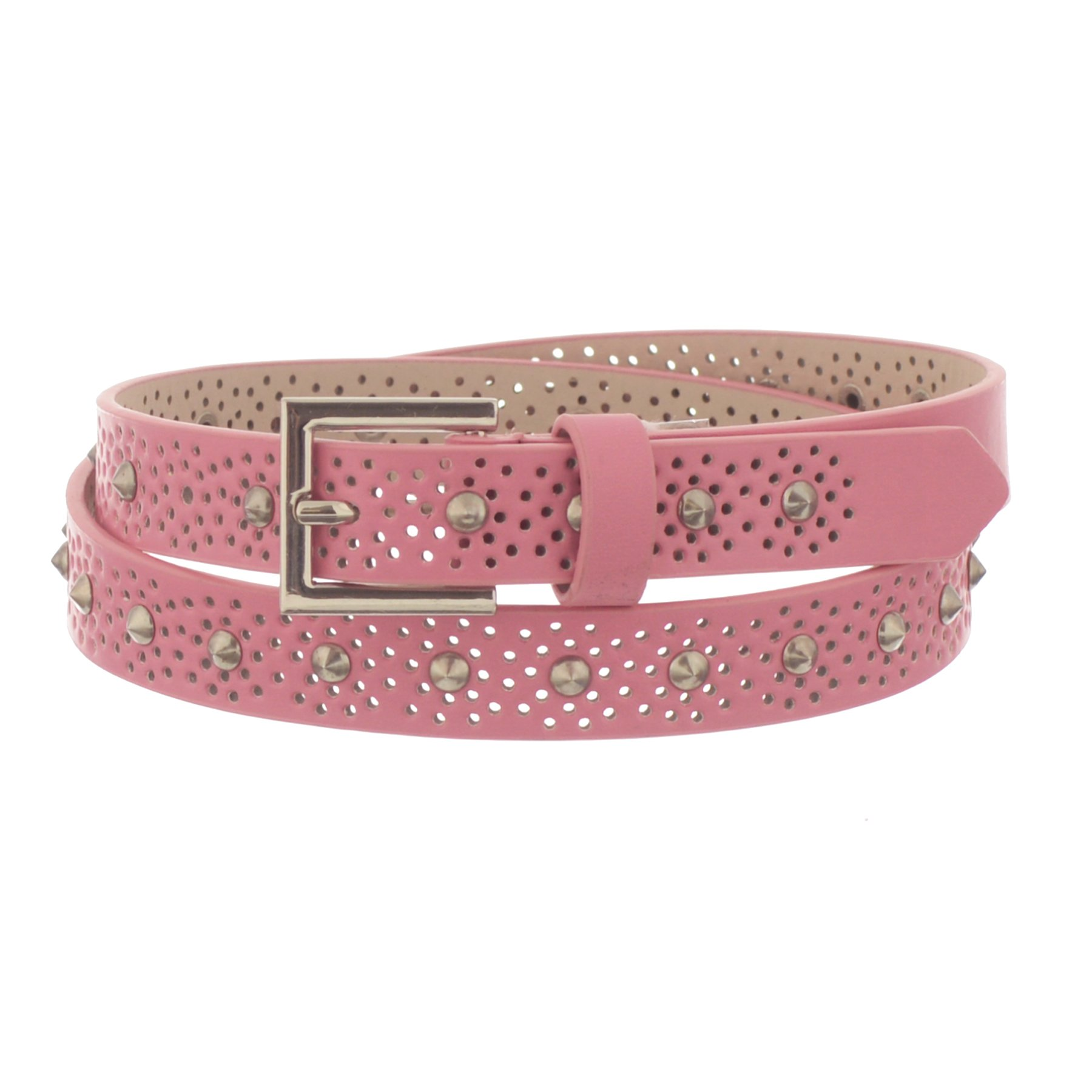 Xcessoire Girls 3/4'' Perforated Fashion Leather Belt (Pink, 12)