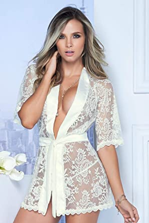 Mapalé 7115 Sexy Sheer Lace Robe with Matching G-String for Women Batas De Mujer