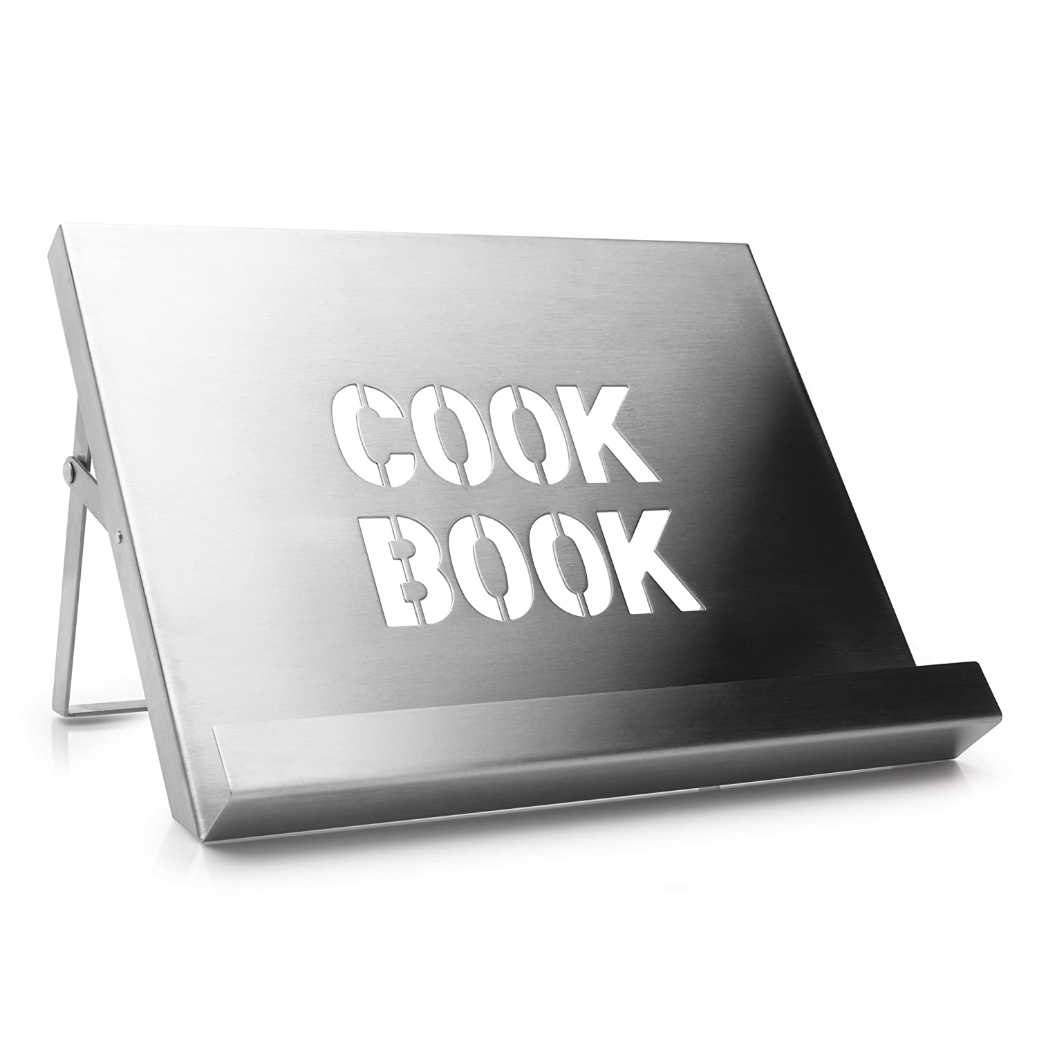cookbook stand brushed stainless steel kitchen home