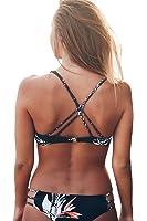 Cupshe Fashion Women's Black Leaves Printing Tank Padding Bikini Set Swimsuits
