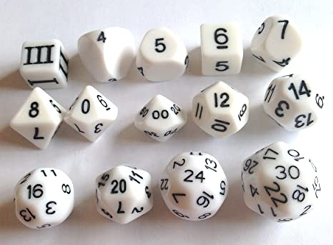 White - 14 Unusual Dice Set Approved for Use with Dungeon Crawl Classics