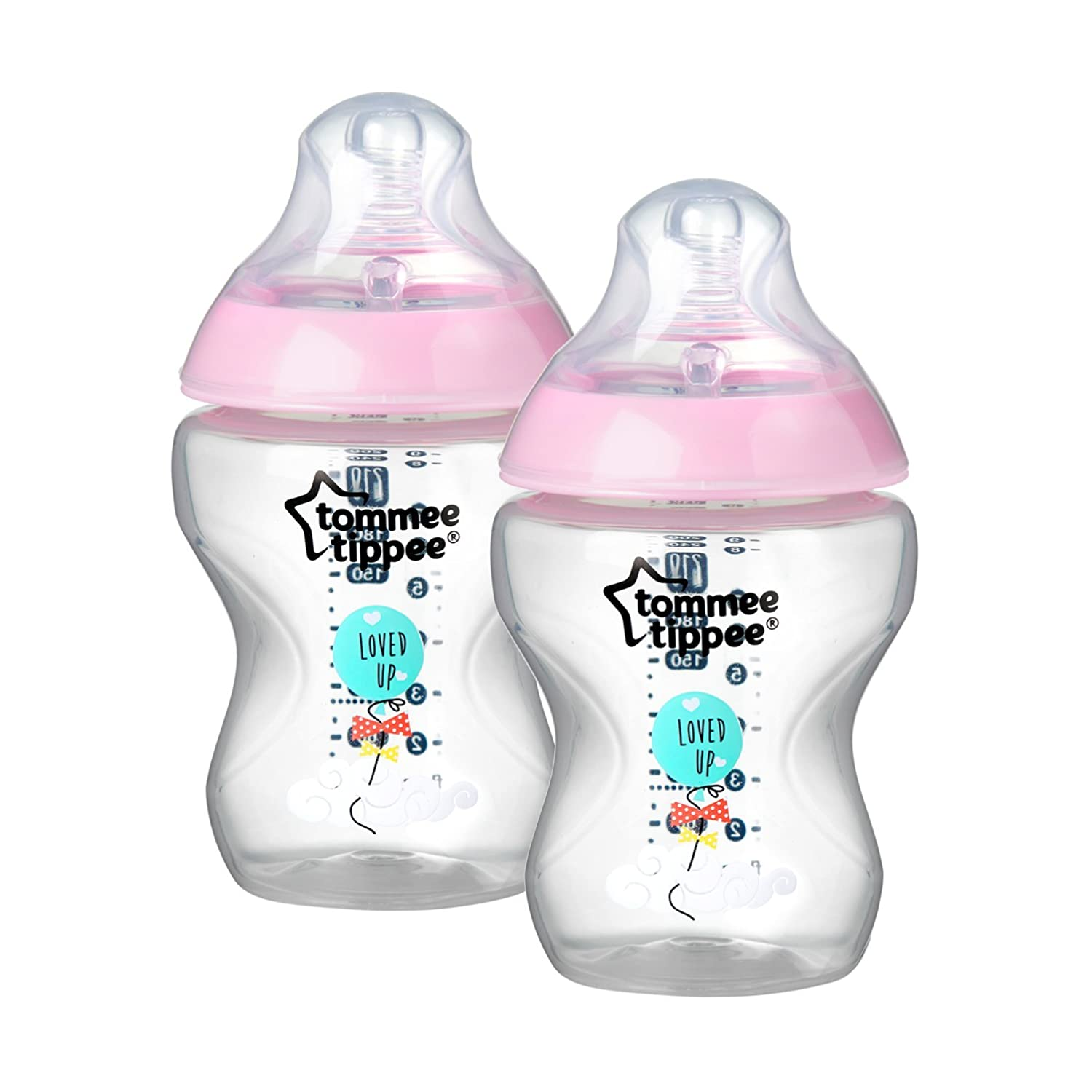 Tommee Tippee 2-Pack 9-Ounce Girls Deco Bottles, Pink 522522
