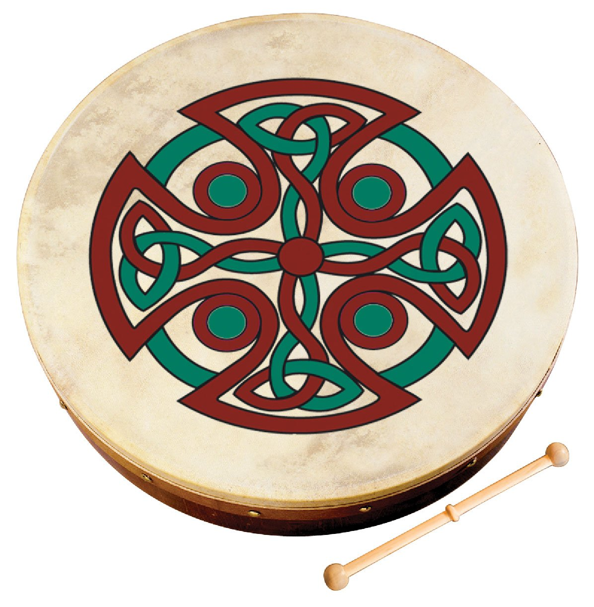 Waltons Bodhrán 8'' (Carew Cross) - Handcrafted Irish Instrument - Crisp & Musical Tone - Hardwood Beater Included w/ Purchase