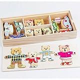 Juleya Four Bears Bricolage Habillage Jouet Jeu en bois Enfants Puzzles Puzzles Blocs