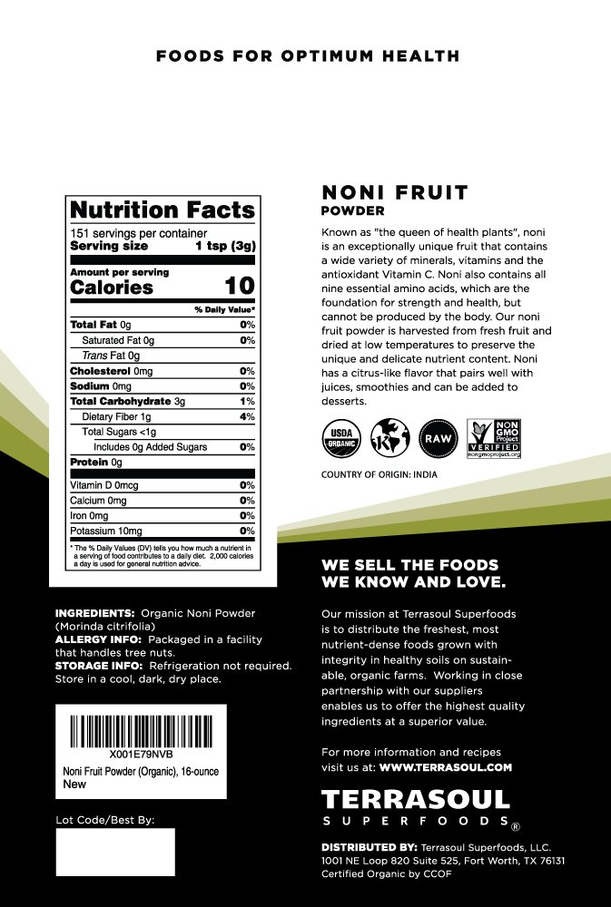 Terrasoul Superfoods Organic Noni Fruit Powder, 16 Ounces by Terrasoul Superfoods (Image #2)