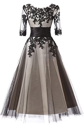 Amazon Joyvany Lace Applique Formal Dresses With Long Sleeves