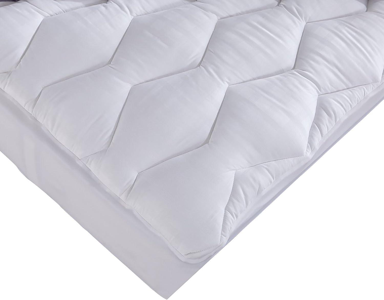Puredown Down Alternative Mattress Pad, 100% Cotton, 500 Thread Count, White, Full Size PD-MP-17012-F