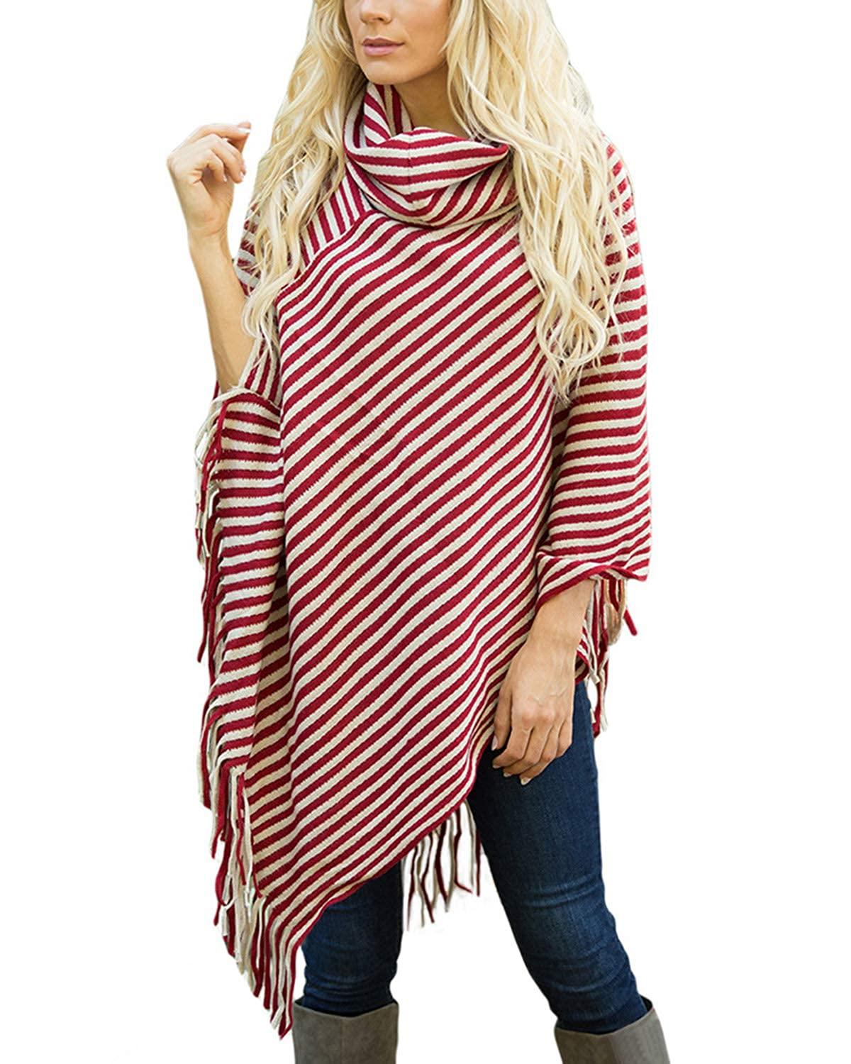 BIUBIU Women Turtleneck Stripe Poncho Cape Tassels Slash Pullover Knitted Sweater BIUBIU603302898