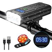 OVOOR USB Rechargeable Bike Light Set,Bike Headlights 5200mAh Bicycle Light,3 LED 1200 Lumens Bike Headlight with 3…