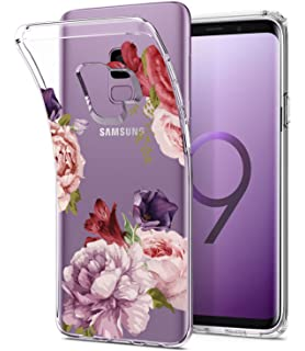 Galaxy S9 Case, Floral Flower Design Clear Case, JDBRUIAN TPU Soft Protective Case Flexible