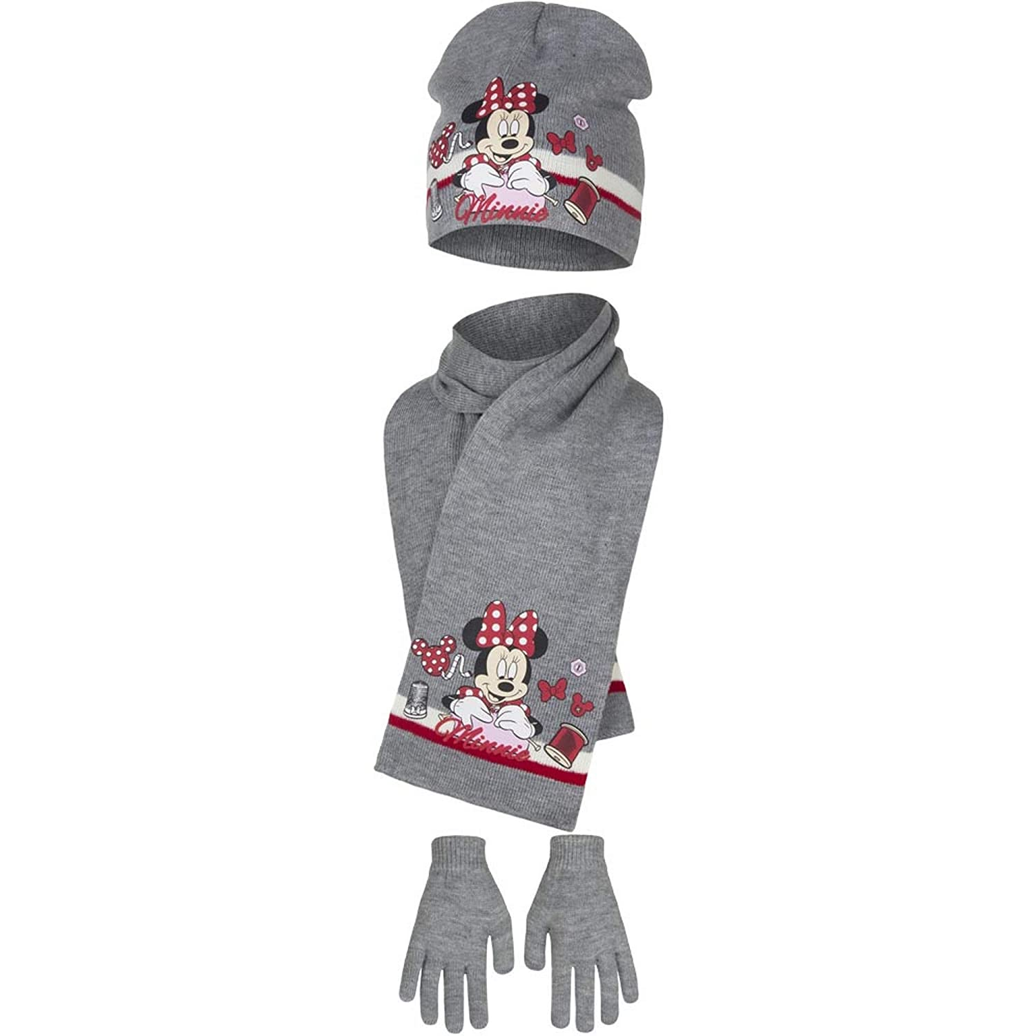 Disney Minnie Mouse Childrens Girls Sewing Winter Hat, Scarf and Gloves Set