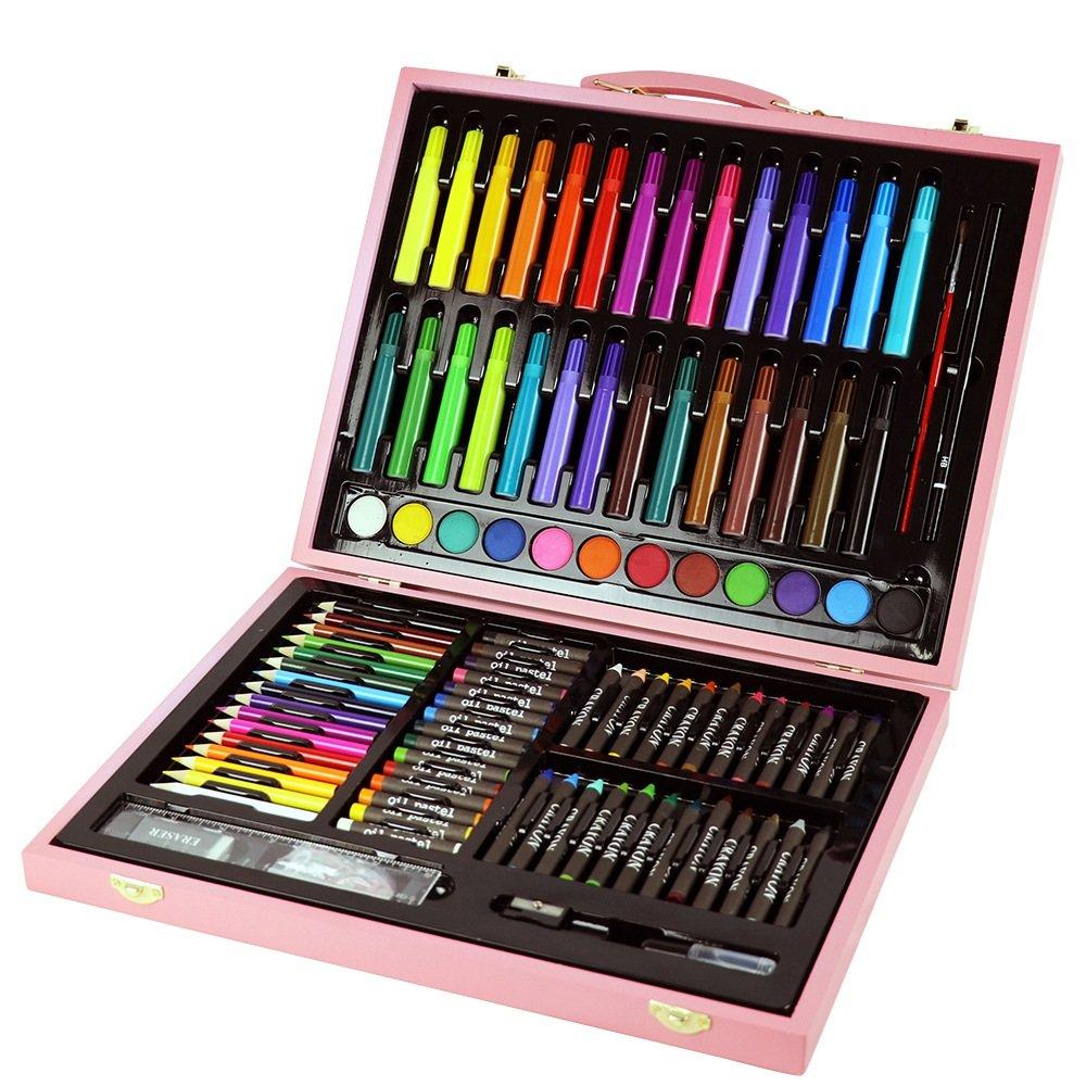 AUMING Pennarelli Lavabili 131 Pezzi Set Pittura per Bambini Scatola in Legno Pennello per Acquerello Pennello per Olio Pennello per imbiancare rosa