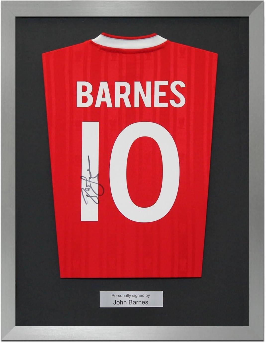 Enmarcado John Barnes Firmado Liverpool 1987-88 Camisa casera ...