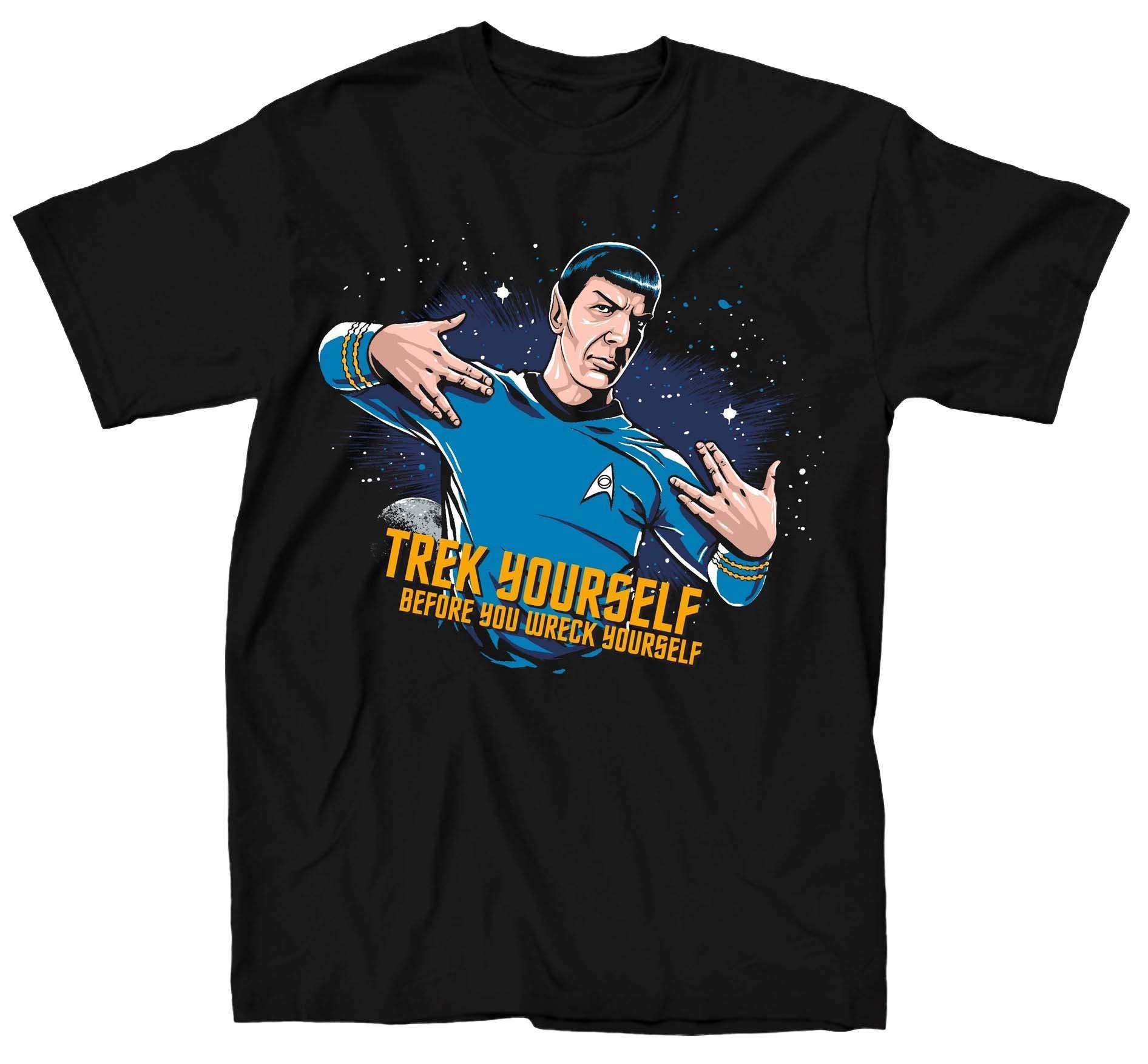 Star Trek Spock Trek Yourself Before Wreck Black Adult T-Shirt (Adult X-Large)