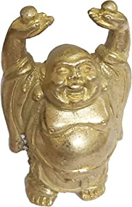 PARIJAT HANDICRAFT Vintage Laughing Buddha Statue in Solid Brass Metal for Wisdom and Wealth Use as Home Decor Showpiece for Feng-Shui