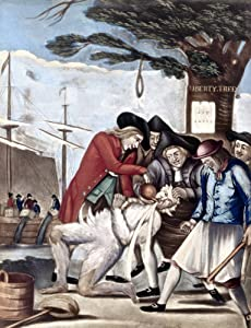 Boston Tea Party 1773 NThe Bostonians Paying The Excise Man Or Tarring And Feathering English Mezzotint Satire Attributed To Philip Dawe 1774 On The Treatment Given To John Malcom An Unpopular Commiss