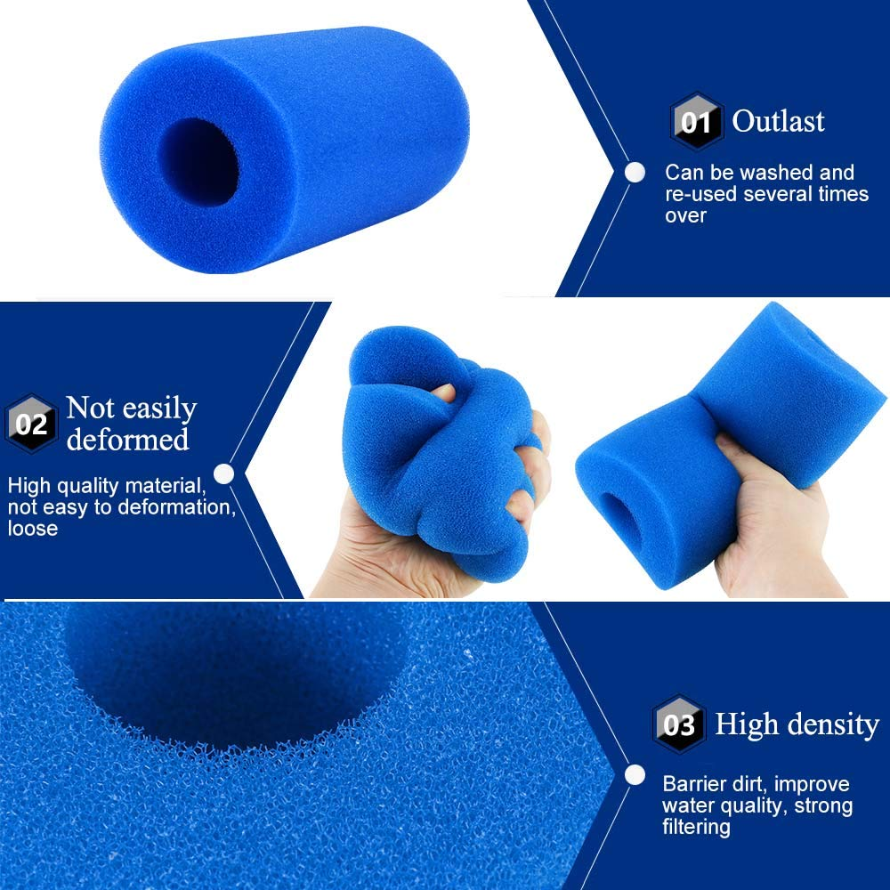 4 Pack Filter Sponge Reusable Washable Filter Cleaner Tool Foam Cartridge Sponge Compatible with Intex Type A Houkiper Pool Filter Cartridge for Intex Type A