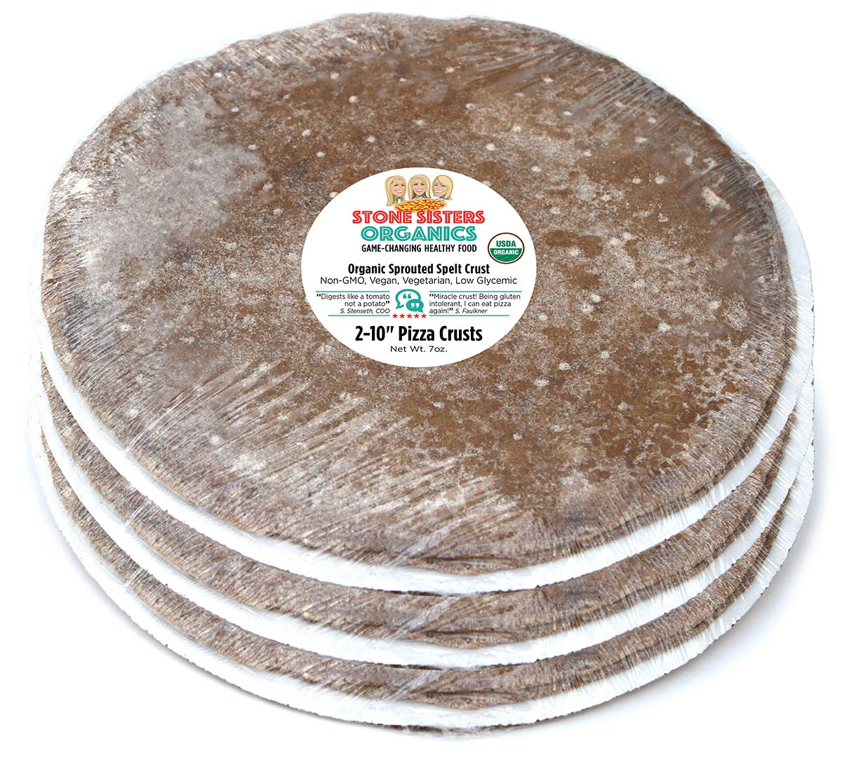 Organic Sprouted spelt pizza crusts completely healthy, vegetable carbohydrate, vitamin rich, unprocessed, Non GMO, thin, crispy, great taste, vegan, low glycemic, easy, 3 packs of 2 (10'') crusts by Stone Sisters Organics (Image #1)
