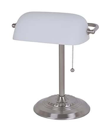 Catalina lighting 17466 016 franklin chrome bankers desk lamp glass catalina lighting 17466 016 franklin chrome bankers desk lamp glass shade 135quot aloadofball Image collections
