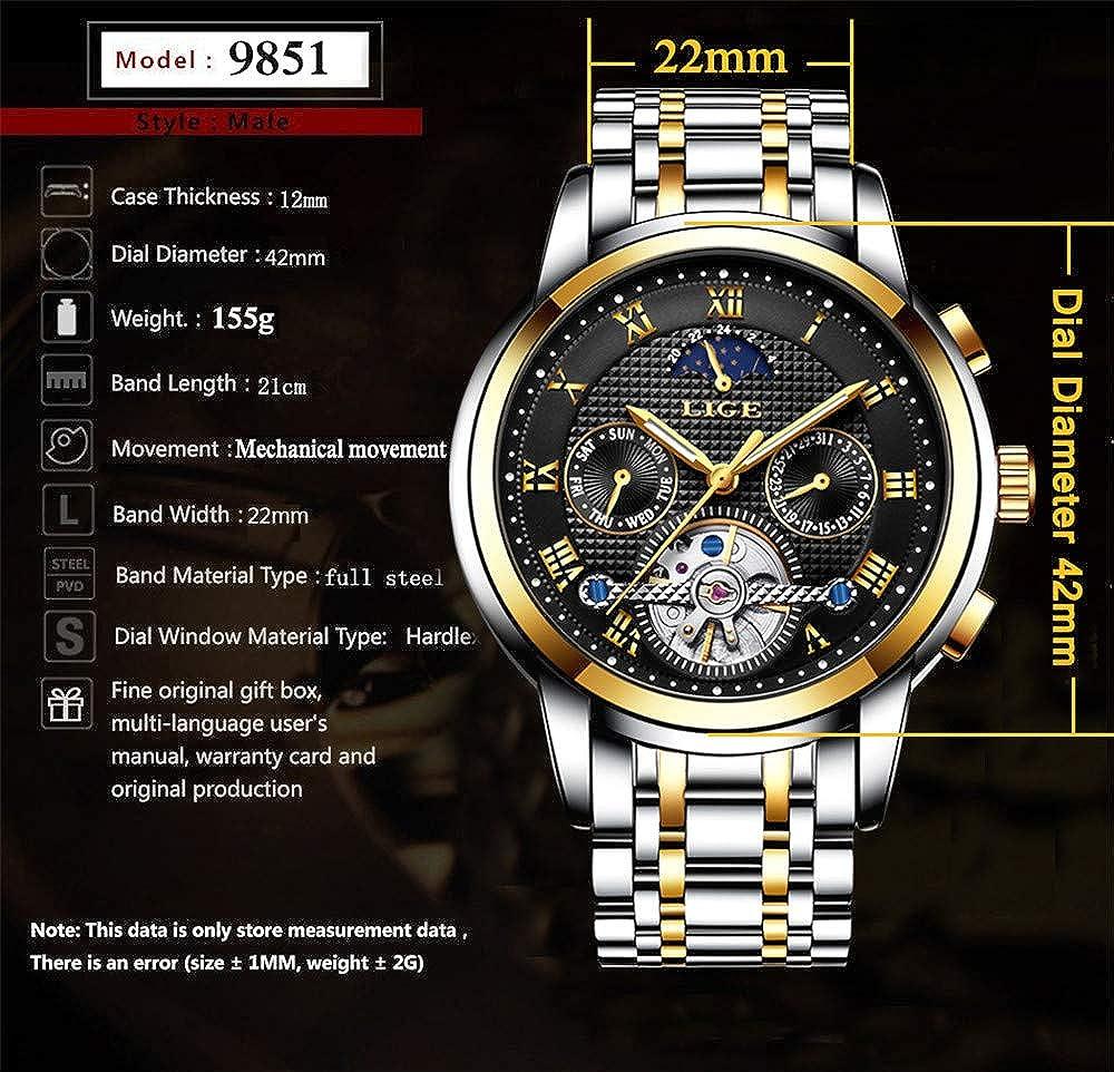 Montres-Bracelets pour Hommes Sports de Loisirs Montre-Bracelet mécanique Montre-Bracelet de pour Hommes d'affaires de Gold White Steel