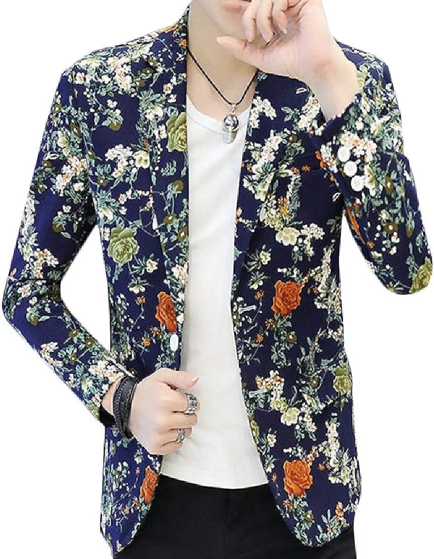 Againg Men Floral Autumn 1 Button Leisure Notch Lapel Patch Blazer